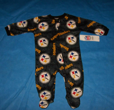 Size 3/6 Mo.  Boy/Girl Infant Sleepwear  One Piece Pittsburgh Steelers  NFL