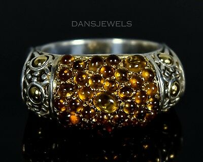 Retired John Hardy Batu Kawung Sterling Silver CITRINE & 18k Gold Ring