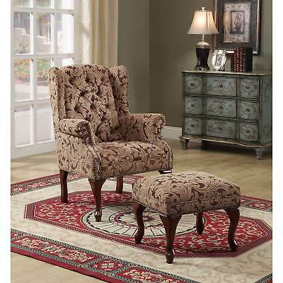 Coaster Company Floral Button Tufted Wing Chair and Ottoman
