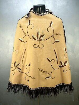 Vtg 60s Mexican Cape Wool Hand Embroidered Floral Fringed Poncho Felted Wool