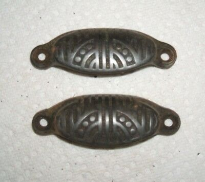 Pair of Antique Eastlake Victorian Cast Iron Cup Drawer Pulls Cabinet Knob