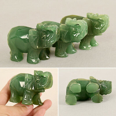 Chinese Green Jade Carved Lucky Elephant Small Feng Shui Statue Handmade Decor