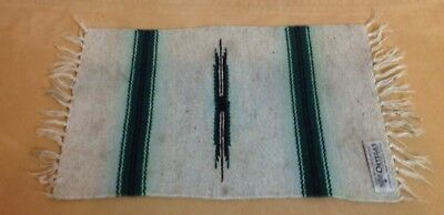 Woven Rug Table Mat, New Mexican, Southwest Design, Green, Brown, Ortega's