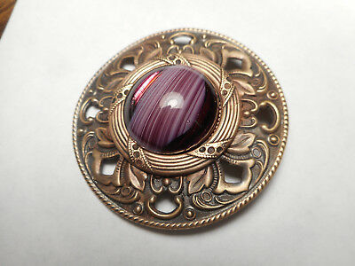Large Purple Glass Jewel in Brass Gay 90's Art Nouveau Border Antique Button 2""