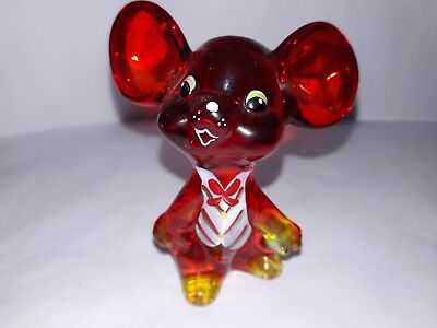 Fenton 2004 RUBY RED MOUSE HP White Green Red Vest  #C14962 SUNDAY DAVIS!