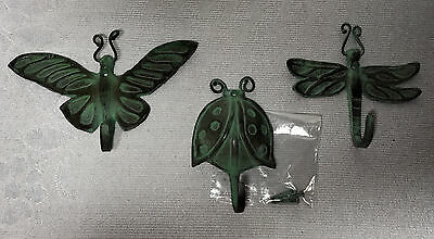 Wall Hooks cast iron Dragon Fly Lady Bug Butterfly distressed metal set 3 H259