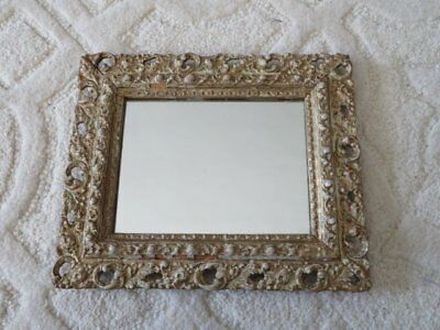 GORGEOUS Old Vintage French  Wall MIRROR in Ornate Barbola Gesso FRAME Chippy