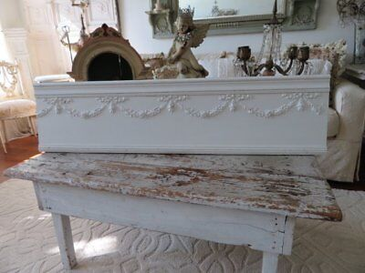 """STUNNING Old FRENCH HEADER Gesso GARLANDS SWAGS ROSES FLOWERS PEDIMENT 48"""" WHITE"""