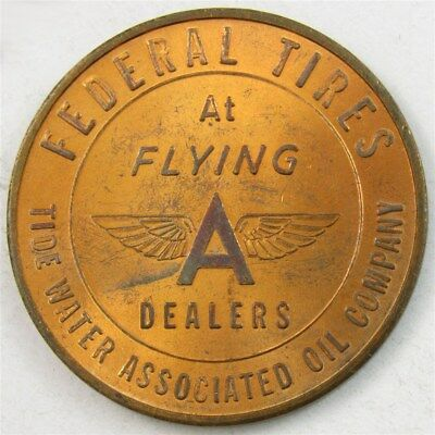 Old Flying A Federal Tires Token - Tide Water Assoc. Oil Co - AU/UNC