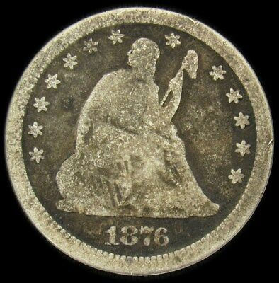 1876-CC Seated Liberty Quarter - Good - 25c Silver Better Date Carson City Mint