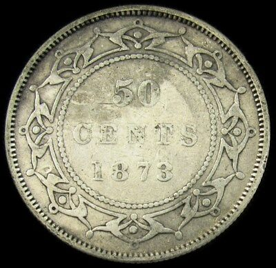 1873 Newfoundland 50 Cents -VF (Det)- Low Mintage Silver Canada KM# 6 PG 161