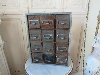 AWESOME Old Vintage Metal CABINET 12 DRAWERS Chippy Rusty PATINA Label Holders
