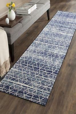 Hallway Runner Hall Runner Rug Modern Blue 3 Metres Long Premium Edith 257