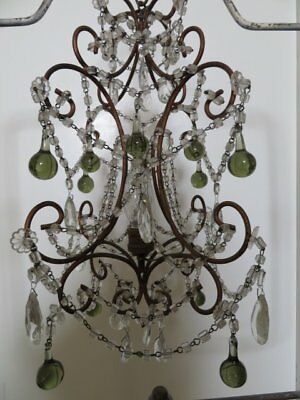 EXQUISITE Old Vintage CHANDELIER Macaroni Beaded SWAGS all Around Crystals