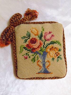 Antique Pin Cushion Sewing Pillow Needlepoint Floral Petit Point Hat Pin Holder