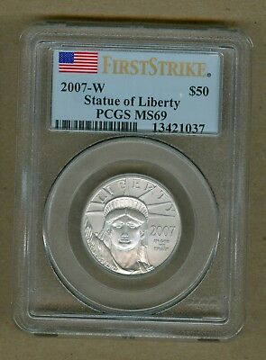 2007-W U.S. Platinum Statue of Liberty Burnished $50 Coin PCGS MS 69