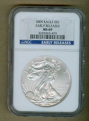 2009 U.S. Silver Eagle Early Releases 1oz. Silver Coin NGC MS 69