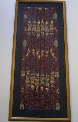 Antique Fine Chinese Embroidery Framed Hanging Tapestry Ornate Panel Large Old