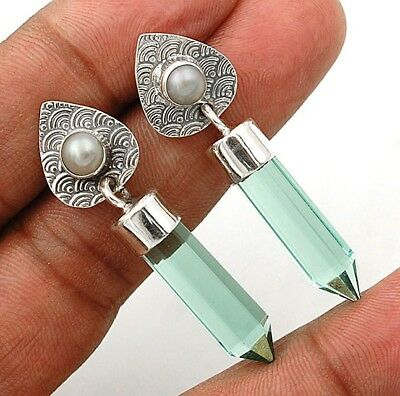 "12CT Aquamarine 925 Solid Sterling Silver Earrings Jewelry 1 2/3"" Long"