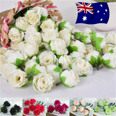 AU STOCK 100PCS Artificial Silk Roses Flowers Fake Leaf Wedding Party Home Decor