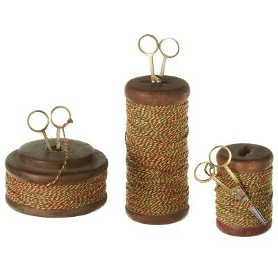 Set /3 Vintage Reclaimed Wood Spools with Colorful Thread Scissors Kitchen Decor
