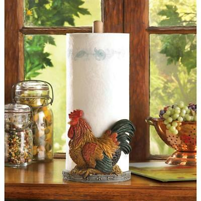 COUNTRY ROOSTER PAPER TOWEL HOLDER. Nice Decor Item.  FREE SHIPPING