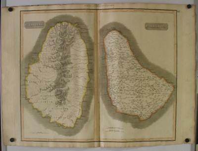 Barbados Sain Vincent Antilles West Indies 1817 Thomson Antique Engraved Map