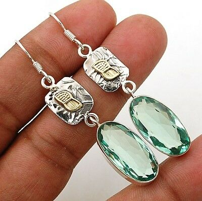 "28CT Two Tone- Aquamarine 925 Solid Sterling Silver Earrings Jewelry 2 1/4"" Long"