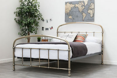Luxury Antiqued Brass Double / King Size Metal Bed Frame Hospital Shabby Chic