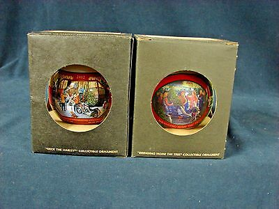 Harley Davidson Deck the Harley & Bringing Home the Tree Bulb Ornament Lot NEW