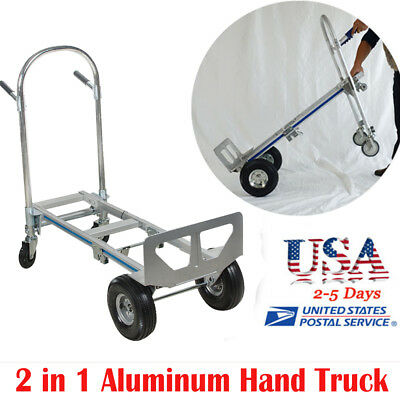 2in1 Aluminum Hand Truck 550LBS-770LBS Convertible Foldable Dolly 4 Wheel Cart