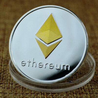 Silver & Gold Plated Physical Commemorative Collectible ETH Ethereum Miner Coin