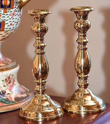 """Vintage Solid Brass Candle Stick Pair Taper Heavy Quality Classic 7.75"""" H"""