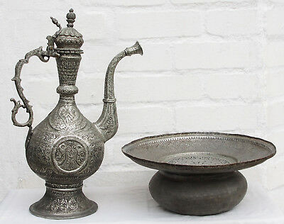 Antique islamic Engraved copper Ewer Pitcher Basin set from Afghanistan No:18/A