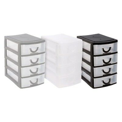 4 drawer mini desk draw storage trays office organiser jewellery craft box colou