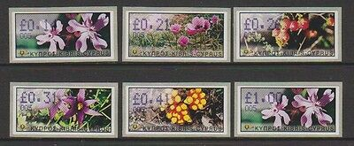 Cyprus - 2002 Vending Machine Labels (Flowers) - Self Adhesive - Code 005 - MNH