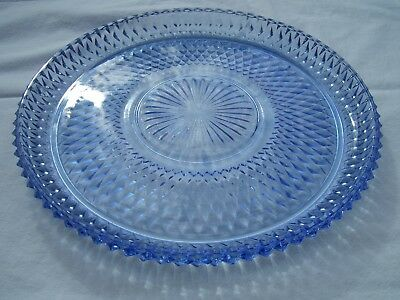 """Vintage Indiana Glass Pale Blue Diamond Point 12"""" Round Platter NEVER USED"""