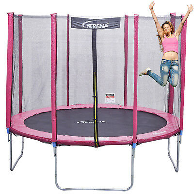 kindertrampolin plum mit netz 140 cm blau pink violet eur 70 00 picclick de. Black Bedroom Furniture Sets. Home Design Ideas