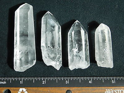 Lot of FOUR! Nice and 100% Natural Quartz Crystals Found in Brazil 147gr