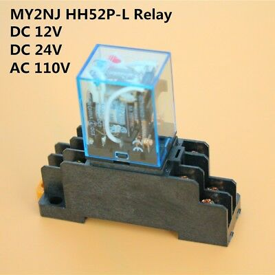1set MY2N-J MY2NJ HH52P-L 12V 24VDC 110VAC Coil Cube Relay & PYF08A Socket Base