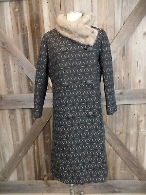 Vintage Wyman's Mink Fur Collar Gray Printed Tapestry Coat Jacket Size S