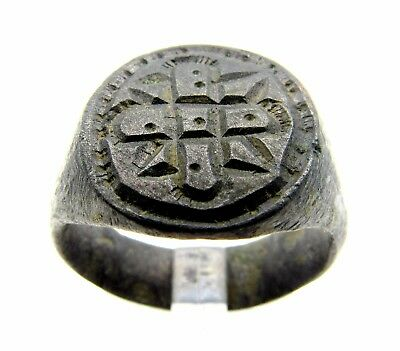 Knight's Seal Ring With Holy Cross - Wearable - Medieval Artifact - F374