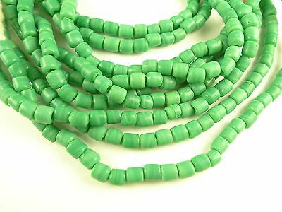 """36"""" flat ended green tribal glass spacer component trade beads Africa AA-0053"""