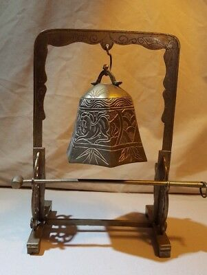 Vintage Brass Temple Bell with Striker on Stand Table