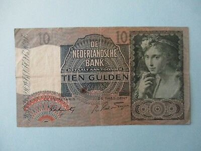 1942 Netherlands 10 Gulden Circulated Banknote Note Bill Currency