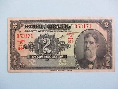 1923 Brazil 2 Mil Reis Circulated Banknote Note Bill Currency