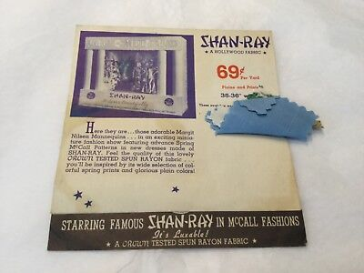 Vintage Shan-Ray fabric advertisement with swatches -  Margit Nilsen mannequins