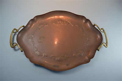 Original antique Arts and Crafts copper tray with brass handles stylised fruit