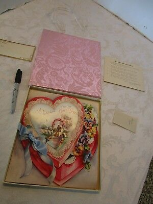 """Vintage Valentine Double Heart FOR A LOVED ONE Card Silk Rust Craft 9""""T boxed"""