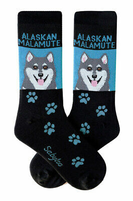 Alaskan Malamute Socks Lightweight Cotton Crew Stretch Egyptian Made